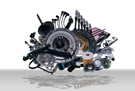 Many new spare parts for a car Archivio Fotografico