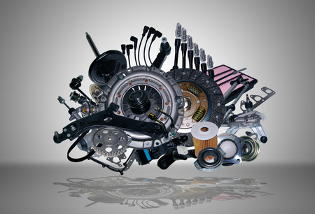 Many new spare parts for a car Stock Photo
