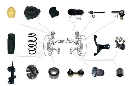 Many new Suspension and steering parts for a car