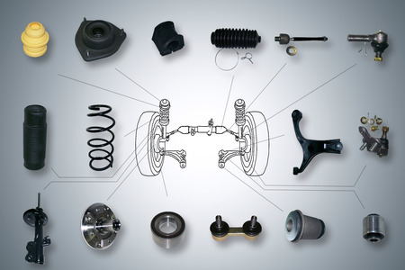 Veel nieuwe ophanging en stuurinrichting onderdelen voor een auto