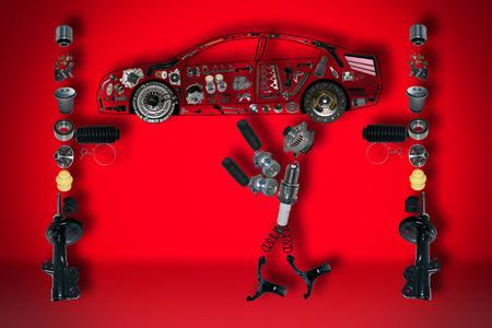 車の下のイメージのメカニック。新しいパーツのセットです。