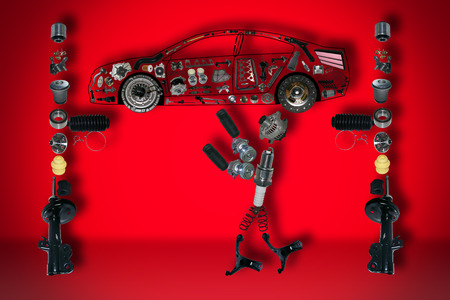 Image mechanic under the car. A set of new parts.