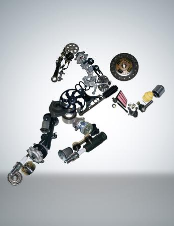 Many new spare parts for a car Foto de archivo