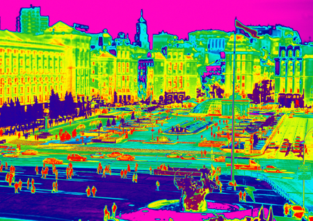 thermogram: Image of Kiev, Maidan through temperature imager