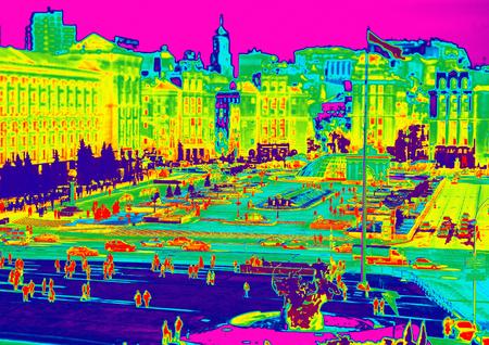 Image of Kiev, Maidan through temperature imager