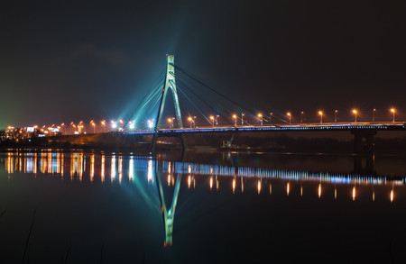 ponton: Beautiful Moskovskiy bridge at night in Kiev Stock Photo