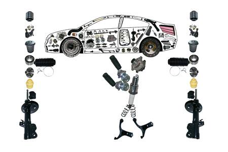-下の軽量車オート メカニック作業の形で多くの新しいスペアパーツします。 写真素材