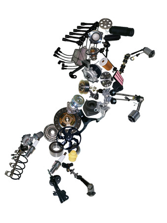Many new spare parts in the form of a horse
