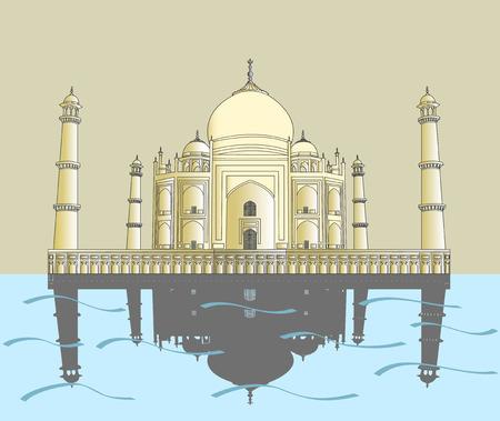 mahal: India, Taj Mahal. Indian palace Taj mahal world landmark Illustration