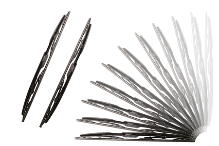 Some windscreen wipers on a white background