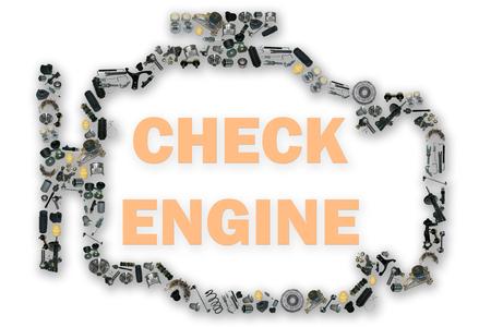 チェック エンジン光記号。スペアパーツのイメージ。多くはスペア部品キットです。