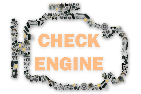 Check engine light symbol. Image of spare parts. Many spare parts kits.