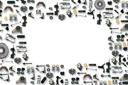 machine parts: Spare parts car on the white background set