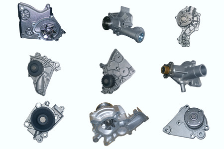 pomp: Automotive Water pump on white background high quality Stock Photo