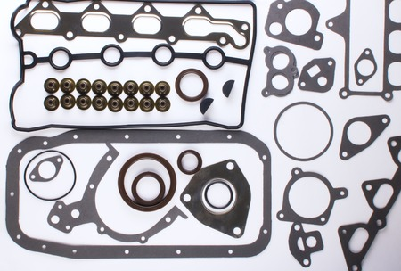 Gaskets for motor on a white background. Spare parts for auto