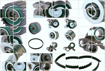 pv: Rubber PV, gear belts and rollers for the car engine on a white background HD