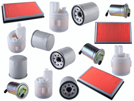 Many car filters isolated on White Background. Automobile spare parts Archivio Fotografico