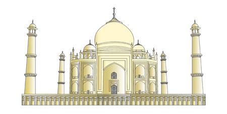 wonders: Taj Mahal vector outlines in very high detail colored