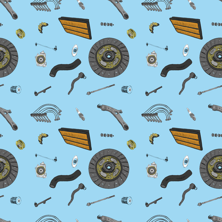 spare: Pattern with the image of the new spare parts for the car Illustration