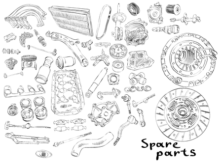 Big set of painted spare parts for cars Archivio Fotografico