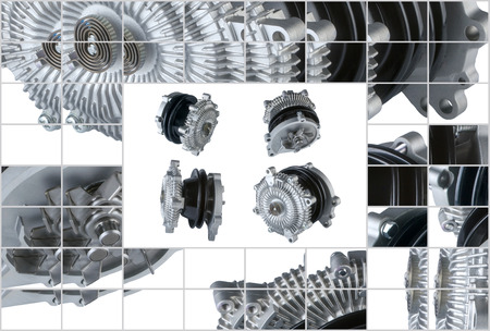 bomba de agua: Muchas fotos de refrigeraci�n del motor del embrague del ventilador y la bomba de agua Foto de archivo