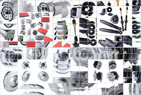 aftermarket: Set of many images of spare parts aftermarket with new spare parts