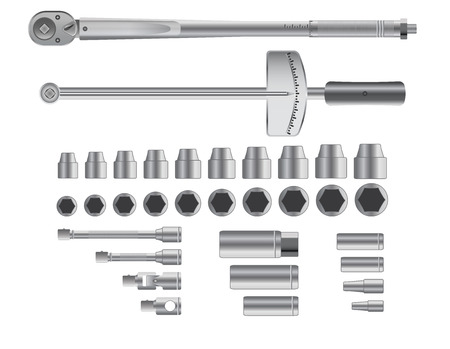 torque: Detailed torque wrenches isolated on white background