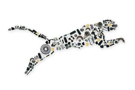 ジャガーのイメージの多くのスペアパーツが収集しました。 写真素材