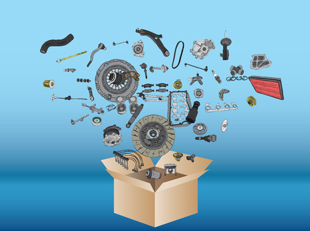 auto shop: Many spare parts flying out of the box on blue background