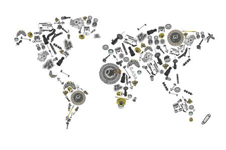 Dibujar un gran mapa del mundo hecho de piezas de repuesto