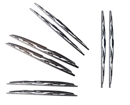 windscreen wiper: Windscreen wipers on a white background, wiper blade Stock Photo
