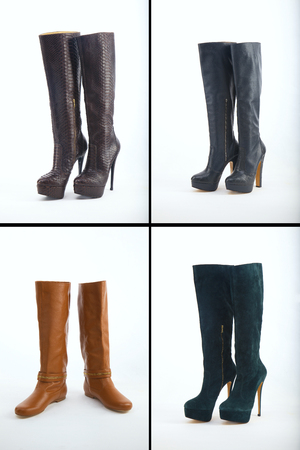 knee boots: Collection of various types of knee high boots over white