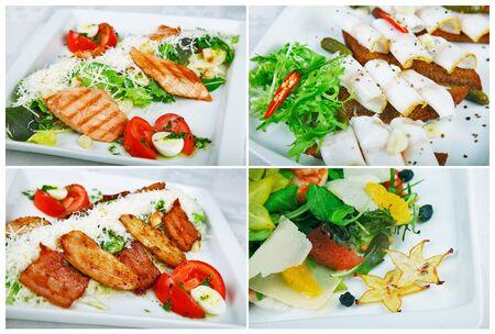 salad plate: Colecci�n de ensaladas, aislado en blanco. Incluye ensalada verde, ensalada, ensalada griega, ensalada de pollo, y los ingredientes.