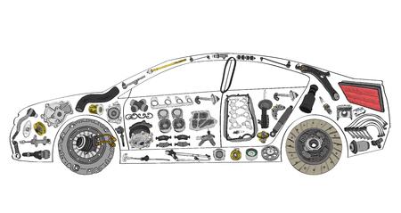자동차 페인트 및 부품의 다양한 구축 스톡 콘텐츠