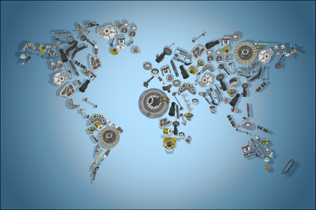 Draw a big map of the world made up of spare parts