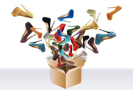 Many womens shoes fly out of the box. Big sale Banco de Imagens