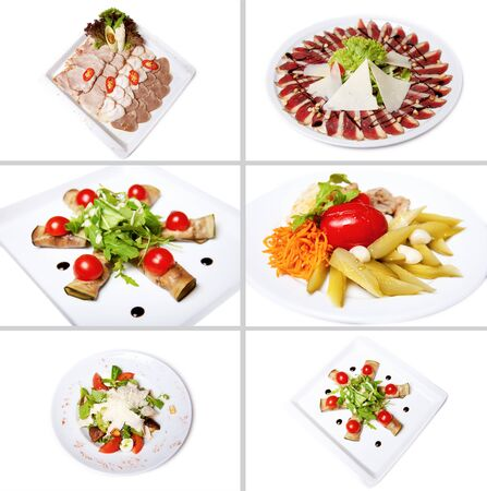 chicken salad: Collection of salads, isolated on white.  Includes green salad, garden salad, greek salad, chicken salad, and ingredients.