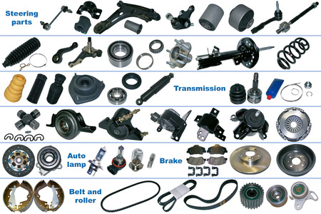 The most popular spare parts of the chassis, transmission, brake and clutch. All spare parts are isolated on a white background.
