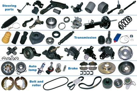 Los repuestos más populares del chasis, transmisión, freno y embrague. Todas las piezas de repuesto se encuentran aislados en un fondo blanco. Foto de archivo