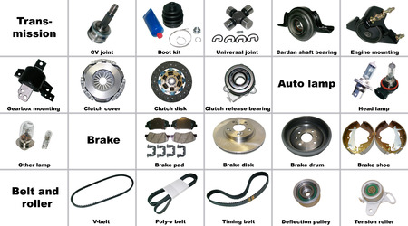 Las piezas más populares del automóvil de transmisión, freno y la correa. Todas las piezas de repuesto se encuentran aislados en un fondo blanco y firmados. Foto de archivo