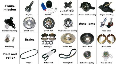 Les pièces de rechange les plus populaires de la voiture la transmission, les freins et la ceinture. Toutes les pièces de rechange sont isolés sur un fond blanc et signés. Banque d'images