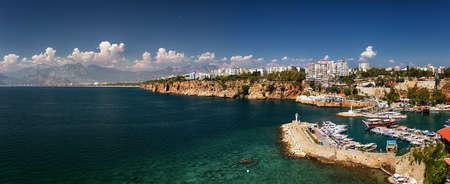 high resolution: Horizontal panorama with high resolution. View of Antalia Turkey port
