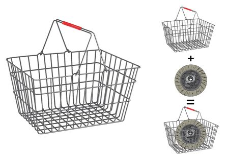 carrying out: Drawn metallic basket 3D on isolated white background. You can put goods, food or tools inside.
