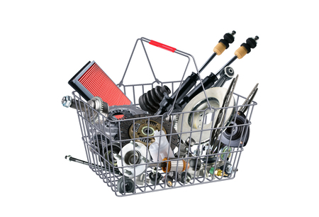 Basket with many spare parts for the passenger car Archivio Fotografico