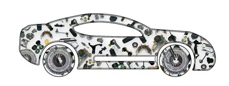clutch cover: Image of sport car. Collected from spare parts.