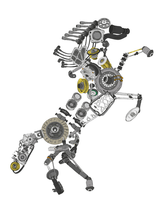 aftermarket: Image of a collected from many spare parts Stock Photo