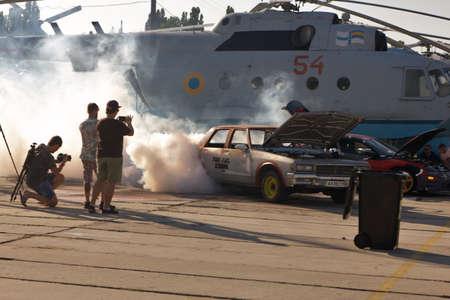 jule: Ukraine, Kiev - jule 25, 2015: exhibition ENERGY AUTOSHOW in aviation Museum