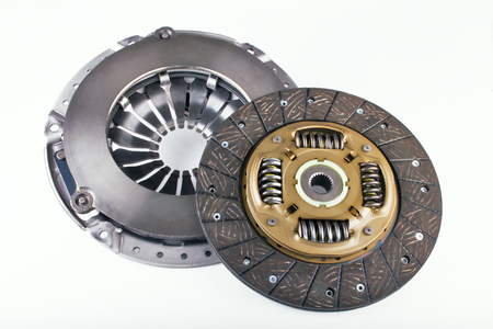 clutch cover: Clutch disc and clutch cover for car on a white background Stock Photo