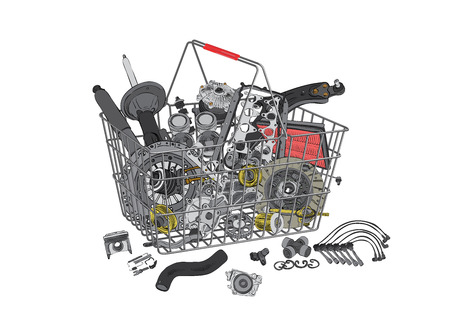 spare: Basket with many spare parts for the passenger car Illustration