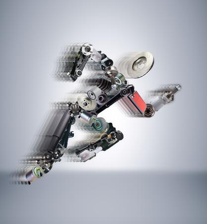 Running man assemblé à partir de pièces de rechange. Pour utiliser dans la publicité des pièces de rechange pour les voitures de tourisme et de sport.